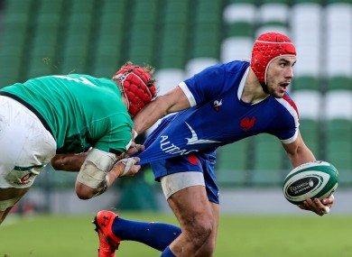 Gabin Villiere in action for France against Ireland in the Six Nations.