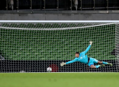 A shot of Luxembourg's winning goal.