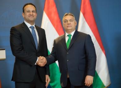 Then taoiseach Leo Varadkar meeting his counterpart Viktor Orban in Hungary in 2018. (File photo)