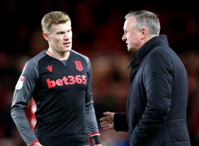 James McClean with Stoke City manager Michael O'Neill.