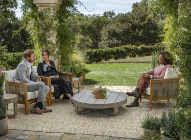Harry and Meghan during their interview with Oprah Winfrey which was aired yesterday in the US.