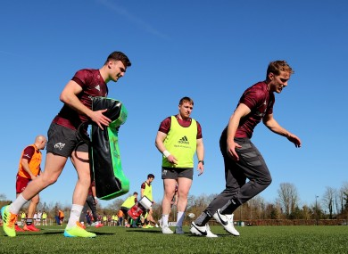 Shane Daly, Rory Scannell and Mike Haley in training at UL last week.
