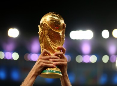 A general view of the FIFA World Cup Trophy.