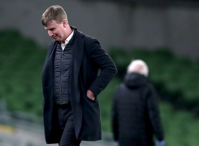 Stephen Kenny, dejected during last night's defeat to Luxembourg.
