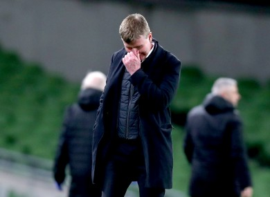 Stephen Kenny, dejected following Ireland's wretched defeat to Luxembourg.