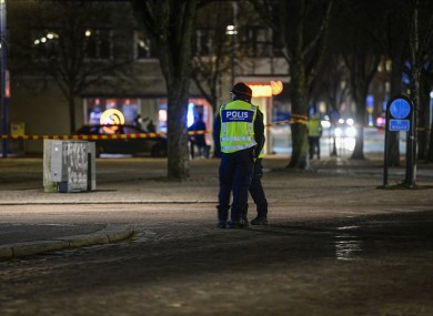 Police at the scene of the incident on Wednesday night
