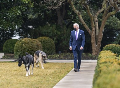 US President Joe Biden walks with his dogs Major and Champ