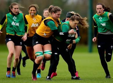 Ireland's Anna Caplice tackles Beibhinn Parsons.