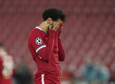 Mo Salah reacts during last night's match.