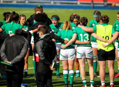 Ireland captain Ciara Griffin speaks to her team after the game.