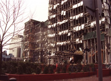 Office buildings in London's Docklands which were devastated in a bomb blast