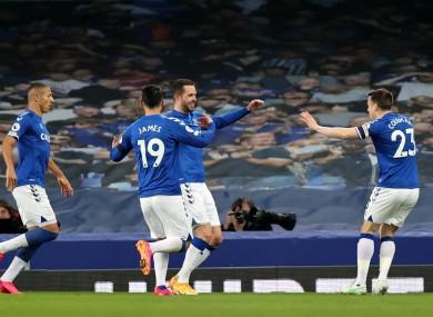 Sigurdsson and Coleman celebrate Everton's second goal.