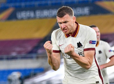 Edin Dzeko celebrates his goal.