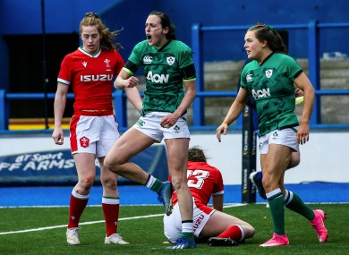 Hannah Tyrrell celebrates her late try in Cardiff.
