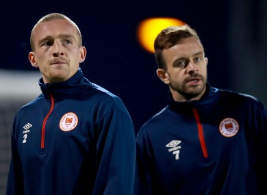 John Mountney of St Patrick's Athletic (left) pictured with Robbie Benson.