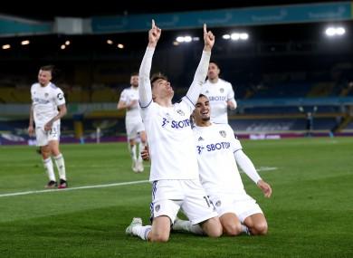 Diego Llorente celebrates his goal for Leeds.