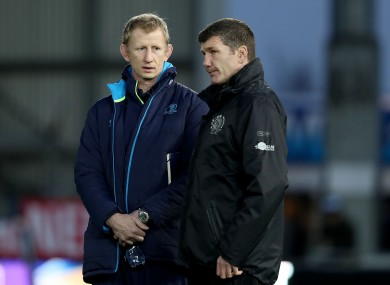 Leinster head coach Leo Cullen with Rob Baxter in 2017.