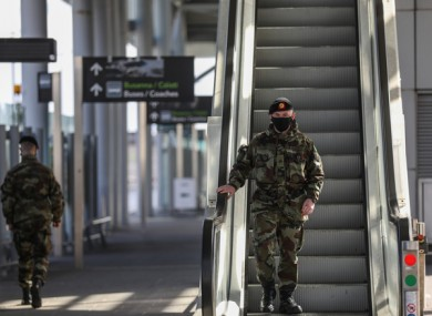 Members of the Irish Defence Forces wearing face masks outside Terminal 2 in Dublin Airport last week.