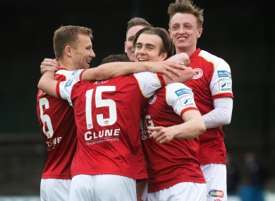 St Patrick's Athletic players celebrate after Matty Smith's goal in last week's win at Finn Harps.