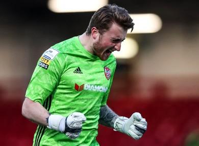 Nathan Gartside celebrates Boyce's goal.