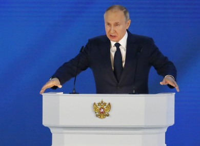 Russian President Vladimir Putin gives his annual state of the nation address in Manezh, Moscow, Russia
