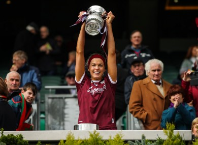 Galway captain Sarah Dervan pictured after their win against Kilkenny in the 2019 National Camogie League final.