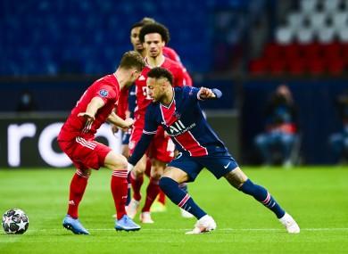 Neymar in action against Bayern Munich tonight.