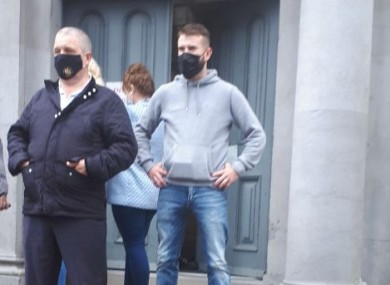 Stephen Kelly (left) and William Stokes (right) standing outside Longford Courthouse this afternoon