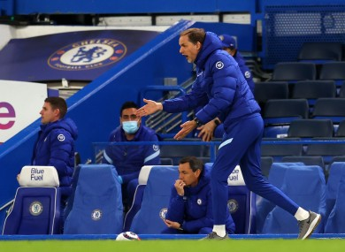 Chelsea manager Thomas Tuchel gestures on the touchline.