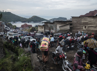 People fleeing Goma as fears grow of a large eruption.