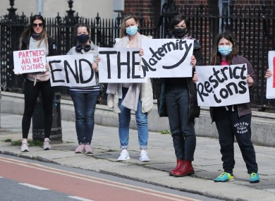 Protesters outside the National Maternity Hospital in Dublin.