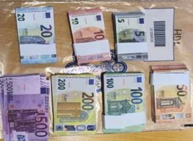 Fake currency that has been seized by Gardaí