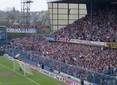 The West Terrace of Hillsborough stadium