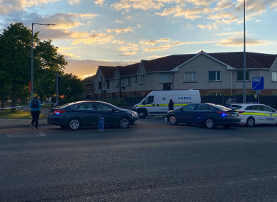 The scene outside the Blanchardstown estate in which the incident occurred this evening.