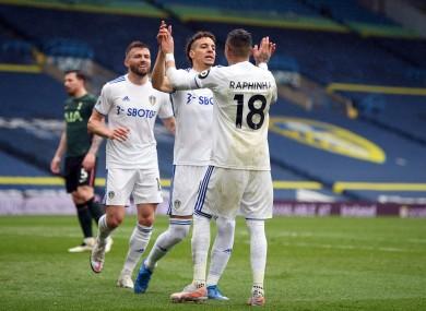Leeds United's Rodrigo (centre) celebrates scoring.