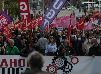 Spanish trade unions returned to the streets in Madrid for May Day 2021.