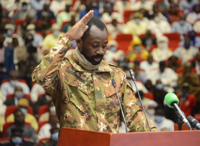 Colonel Assimi Goita is sworn in as Mali's transitional vice president last September.