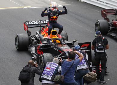 Celebrations for Max Verstappen.