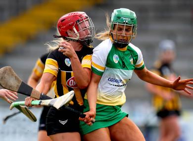 Kilkenny's Grace Walsh and Offaly's Roisin Egan.