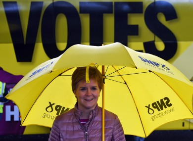 Scottish First Minister Nicola Sturgeon during campaigning for the parliamentary elections.