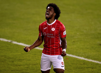 Walter Figueira celebrates Monday's win at Shamrock Rovers.