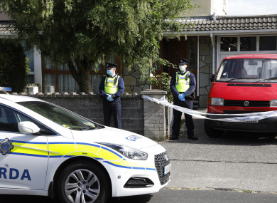 Gardaí outside the property in Carriglea View yesterday