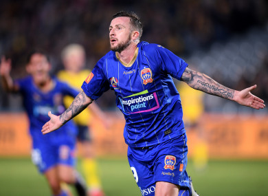 Roy O'Donovan celebrates after scoring for Newcastle Jets against Central Coast Mariners earlier this month.