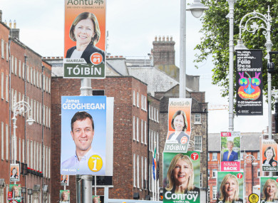 Dublin Bay South by-election candidate posters on Merrion Street