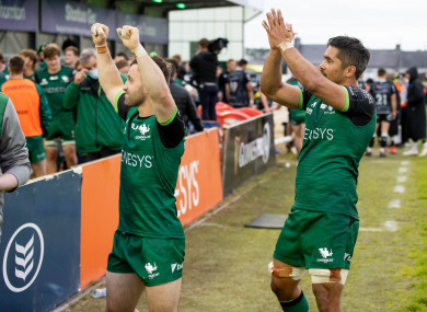 Caolin Blade and Jarrad Butler after Connacht's win.
