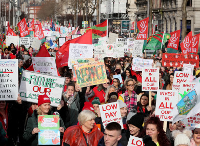 Childcare workers take part in a protest in Dublin's city centre in February 2020 over low wages and to highlight the childcare crisis.