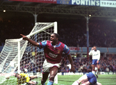 Dalian Atkinson scoring for Aston Villa against his former club Ipswich in a 1992/93 FA Cup tie.