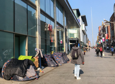 Tents outside the Ilac Centre on Henry Street in Dublin city centre.