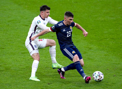 Billy Gilmour in action against Mason Mount.