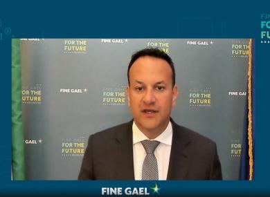 Fine Gael leader Leo Varadkar at the Ard Fheis this evening